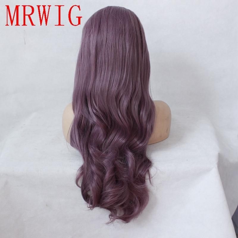 MRWIG Real Natural Looking Blandad Lila Lång Vågig Mellandel - Syntetiskt hår - Foto 4