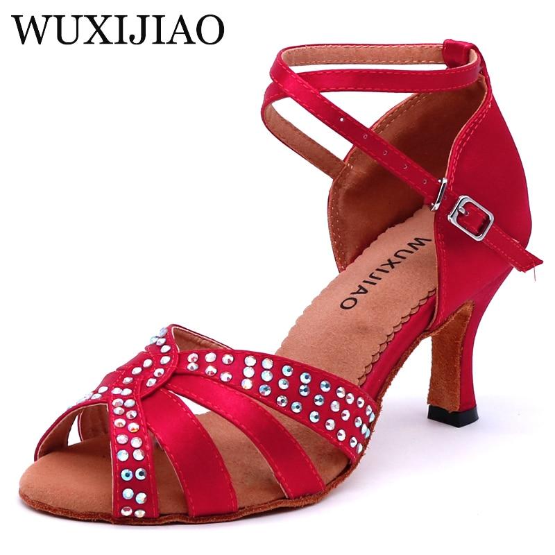 WUXIJIAO New Wine Red Satin Latin Dance Shoes Women Salsa Rhinestone Shoes Dance For Woman Ballroom Dancing Shoes Heel 5cm-10cm