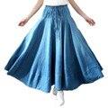 El envío Libre 2017 Nueva Falda de Mezclilla de Moda de Verano Del Todo-Fósforo Más Tamaño Primavera Y el Verano Una Línea de La Cintura Elástico Plisada Falda de Las Mujeres