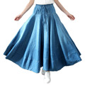 Free Shipping 2017 New Fashion Summer Denim Skirt All-match Plus Size Spring And Summer A-line Elastic Waist Pleated Women Skirt