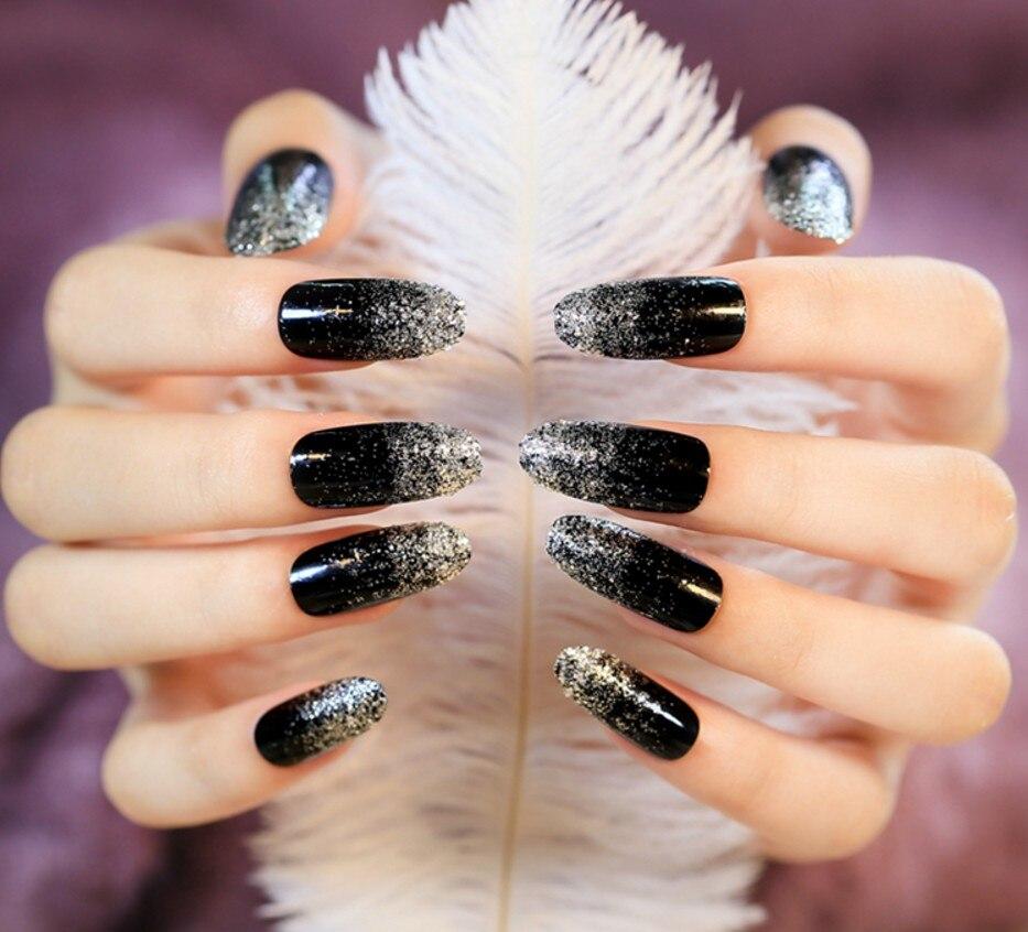 2017 New Fashion 24 Pcs Black Long False Nails Acrylic Nail Art Tips ...