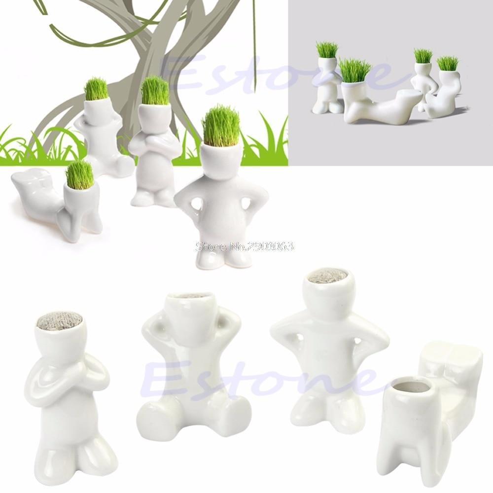 Novela Bonsai Cabeza Hierba Muñeca Cabello Blanco Lazy Man Rely Plant Garden DIY Mini HXP001