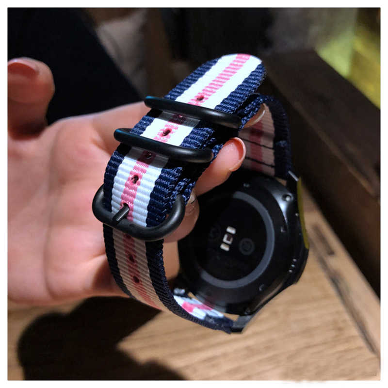 الملونة النايلون حزام لسامسونج جير S3 s2 الرياضة الحدود الكلاسيكية حزام (fron) ساعة ل شاومي huami amazfit بيب بيس لايت حزام