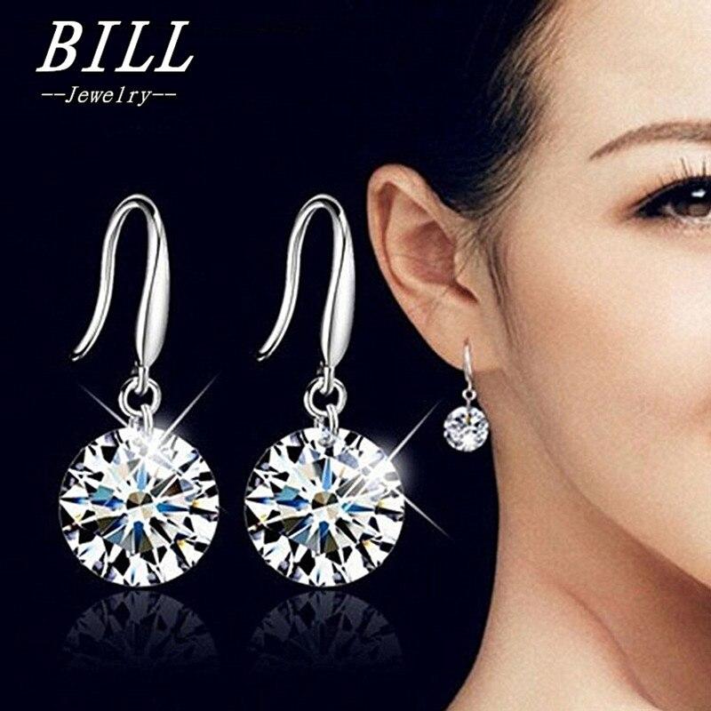 Free Shipping White Cz Stone Crystal Pierced Dangle Drop Earrings Jewelry 2018 N