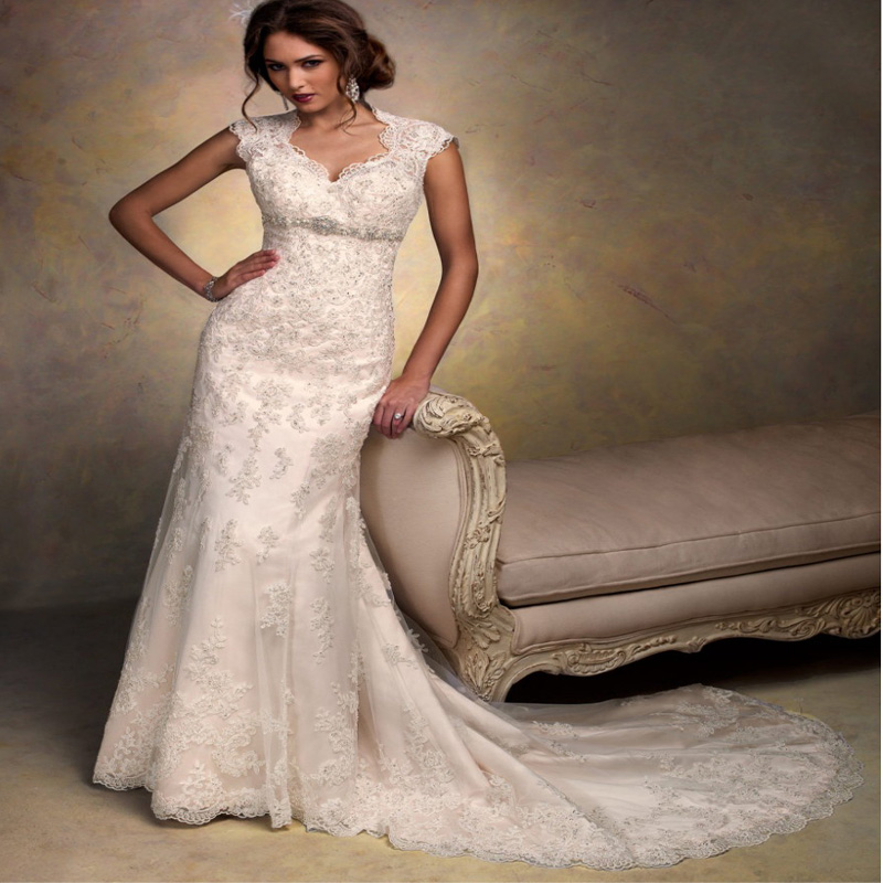 Buy cap sleeves open back lace wedding for Wedding dress for sale