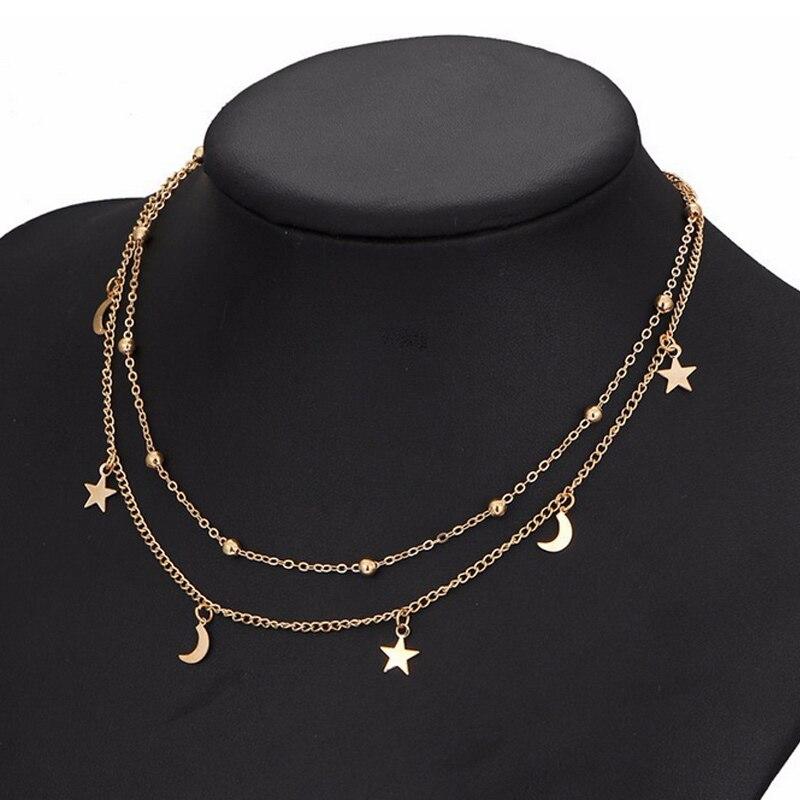 Модные женские туфли двухслойные Цепочки и ожерелья луны и звезд сексуальные ключицы Цепи Ювелирные украшения подарки M660