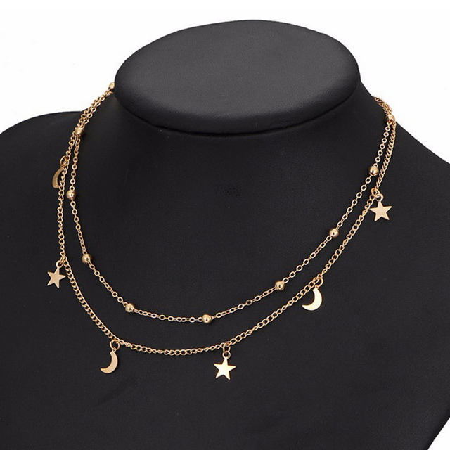 Fashion Women Double Layers Necklace Moon Stars Sexy Clavicle Chain Necklaces Fi