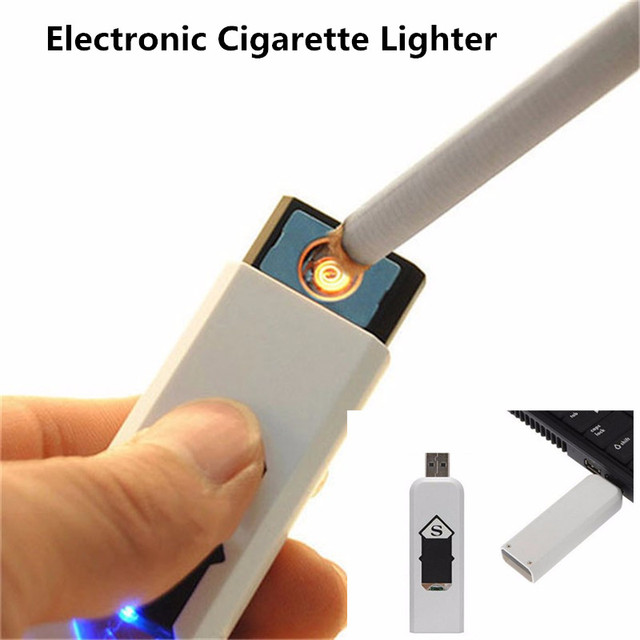 Novelty Usb Gadget Electronic Tobacco Cigarette Lighter Cigar URechargeable No Gas Gadget USB Lighters White Flameless Isqueiro 1
