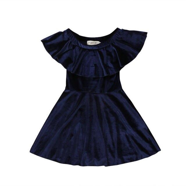 6e32c1d1b 2018 Velvet Kids Baby Girl Dress Off shoulder Navy Blue Party ...