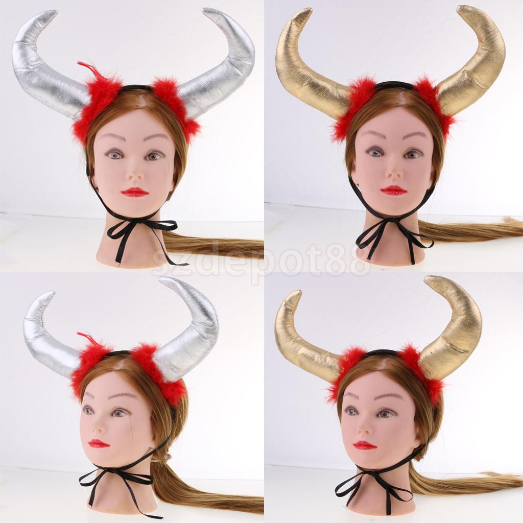 Halloween Christmas Costume Large Ox Horn Animal Headband Devil Cosplay Role Play Fancy Dress Gold/Silver