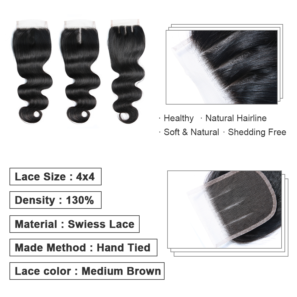 Bigsophy Indian Body Wave Closure 100 Human Hair 8 20 18 Inch 4 4 Lace Closure Free Middle Three Part Remy Hair Weaving 1PC Lot in Closures from Hair Extensions Wigs