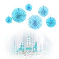 Set of 6 Paper Fan for Birthday Baby Shower Bridal Shower Decoration Wedding Backdrop, Carnival Fiesta party Pinwheel Backdrop