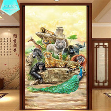 5d DIY Diamond embroidery animals world pictures Decorative Mosaic Full round rhinestones leopard tiger peacock drill Painting