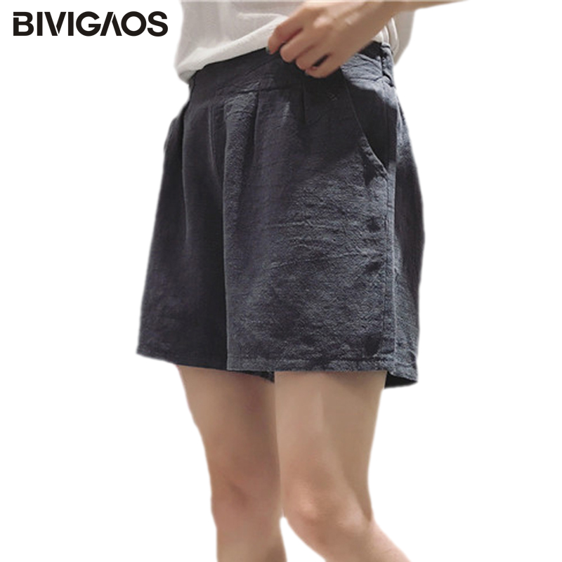 BIVIGAOS 2017 New Womens Summer Loose Cotton Linen   Shorts   Femme Elastic High Waist Wide Leg   Short     Shorts   Casual   Short   Fashion