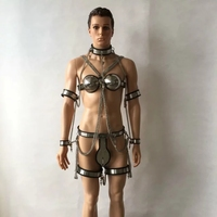 stainless steel male chastity belt +collar+bra+handcuff/arm ring+thigh ring+ legcuffs with Chain 7pcs/set sex bondage bdsm toys