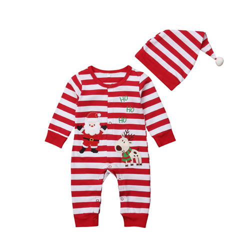 Christmas 0-24M Newborn Infant Kid Baby Boy Girl Romper Cotton Cartoon Long Sleeve Striped Jumpsuit Hat 2Pcs Baby Clothes Outfit