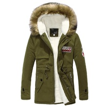 2017 new arrival men's thick warm winter Parkas fur collar army green men parka big yards long cotton coat jacket parka men 4XL