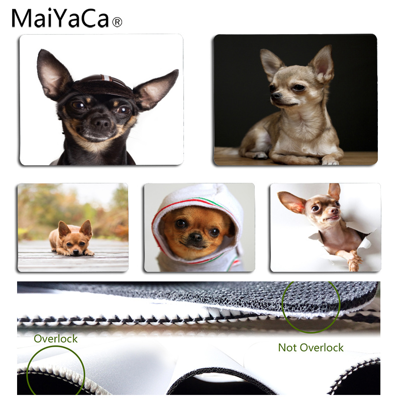 MaiYaCa Vintage Cool Chihuahua Pets Durable Rubber Mouse Mat Pad Size for 18x22cm 25x29cm Rubber Rectangle Mousemats