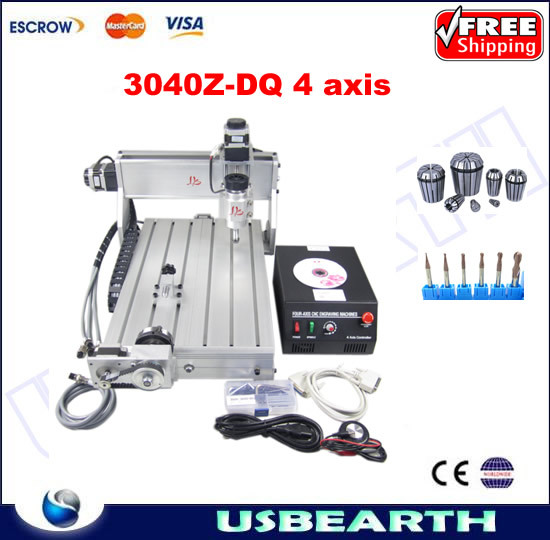 Mini CNC router cnc 3040 Z-DQ 4 axis CNC Engraving Machine with collet and tool bits фотобарабан panasonic dq dcd100a7 dq dcd100a7