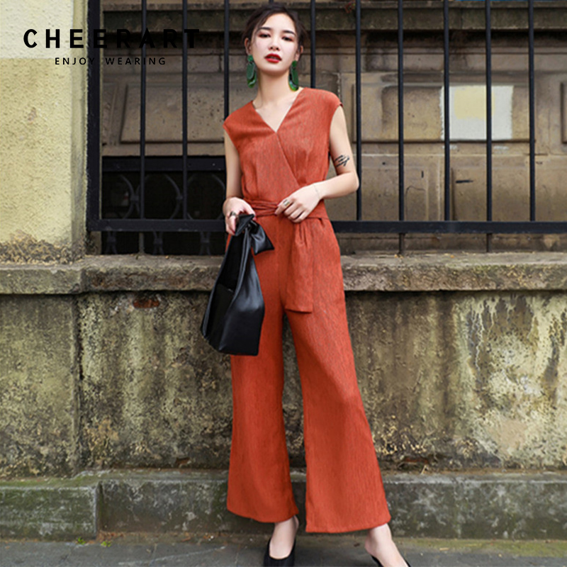 Cheerart Sleeveless Wrap Orange Jumpsuit Women Summer V Neck Lace Up Overalls Ladies Jumpsuits Plissee Combinaison Femme ...