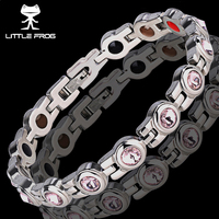 LITTLE FROG Elegant Stainless Steel Energy Health Magnetic Bracelet with Magnet Rhinestones Friendship Bracelets for Women