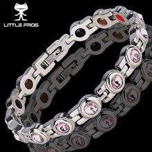Little frog elegante energia de aço inoxidável saúde pulseira magnética com ímã strass amizade pulseiras para mulher