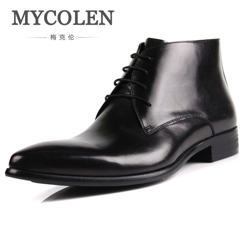 MYCOLEN Spring Autumn Men Shoes British Style Vintage Western Boots Genuine Leather Male Ankle Desert Shoes Botas Militares mycolen 2017 fashion winter men boots british style working safety boots casual winter men shoes male black leather ankle boots