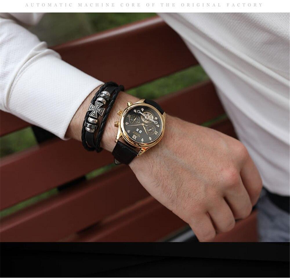 HAIQIN Men's watches Automatic mechanical Men Watches Business Watch men top brand luxury Military Waterproof Tourbillon Clock