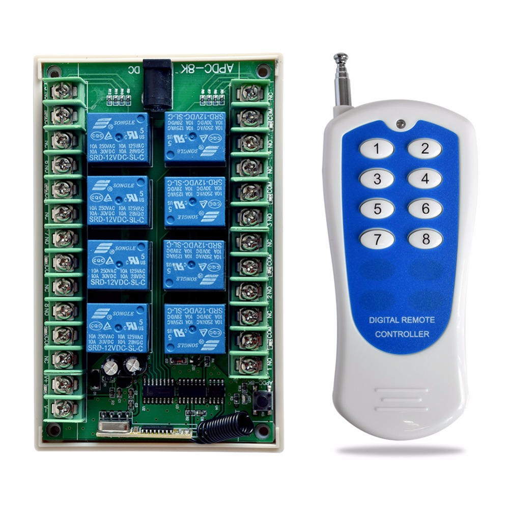 SMARSECUR DC 12V 24V 8CH RF Wireless Remote Control Switch System Relay Output 315MHZ for Smart Home 315 433mhz 12v 2ch remote control light on off switch 3transmitter 1receiver momentary toggle latched with relay indicator