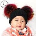 GZHILOVINGL 2016 New Kids Дети Мальчики Девочки Малыша Зимние Вязаные Полосатый Вязаная Шапка Дети Hat С 2 Натуральный Мех Помпон