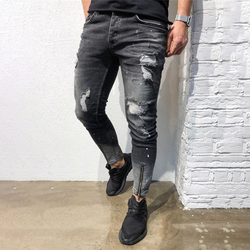 2019 New Men Black Jeans Skinny Ripped Stretch Slim Fashion  Man Casual Denim Biker Holes Jeans Pants C1324