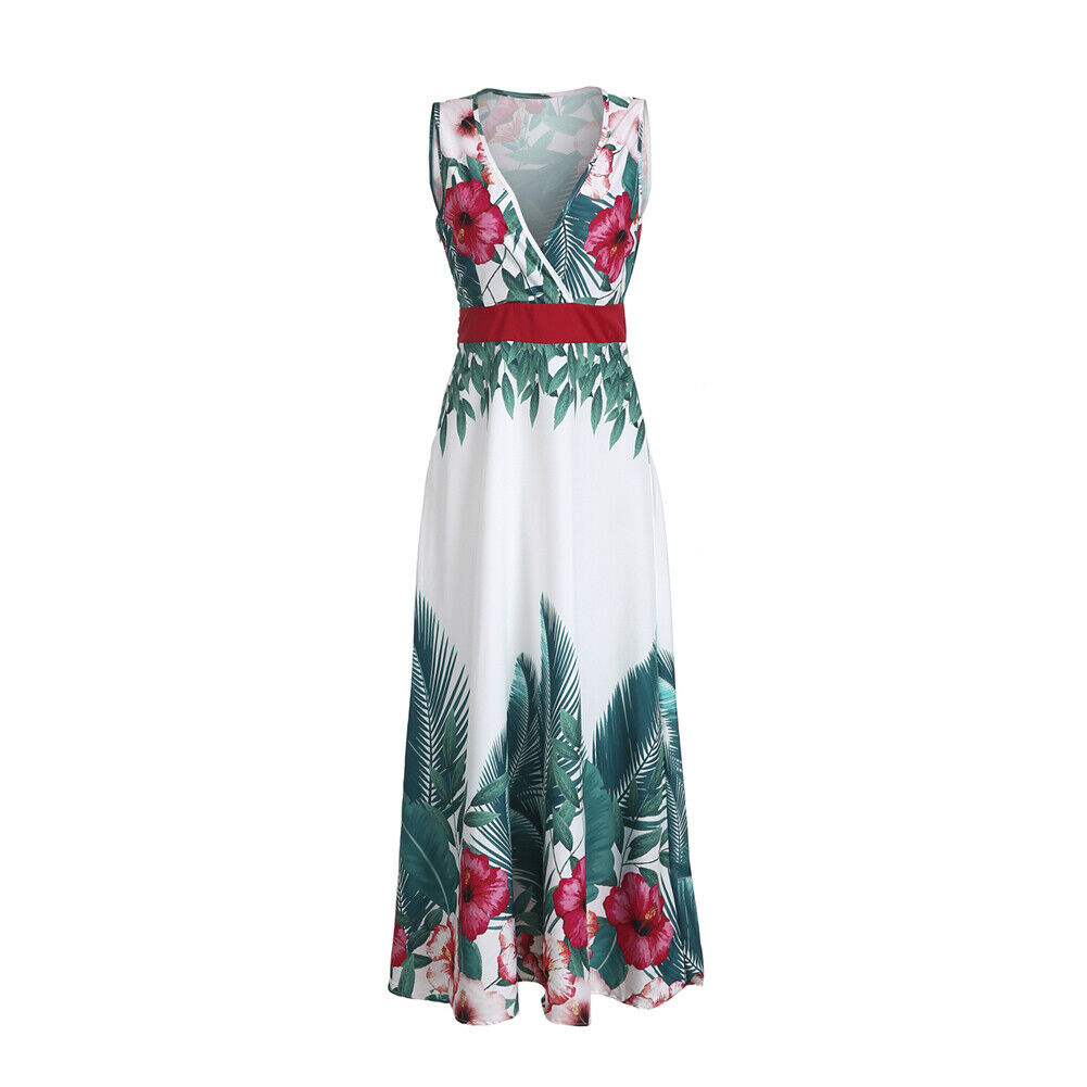 2019 Fashion Womens Party Boho High Waist V neck sleeveless sling Sexy Long Dresses Ladies Summer Beach Floral Maxi Dress