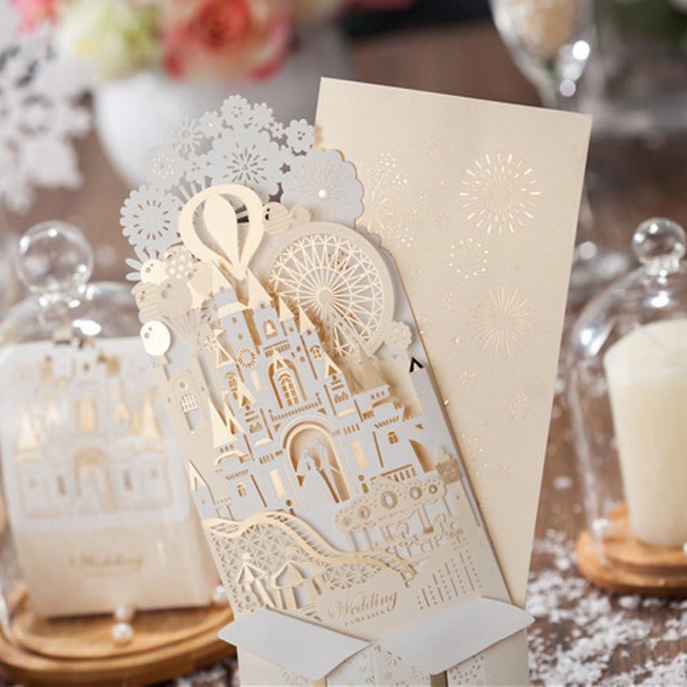 50 PCS Laser Cut Hochzeit Einladungen Karten 3D Gold Vergoldung Braut und Bräutigam in Schloss für Engagement Braut Dusche Jahrestag-in Karten & Einladungen aus Heim und Garten bei  Gruppe 3