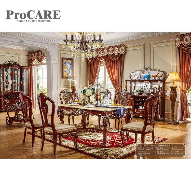 Table à manger ronde en marbre de style européen avec centre rotatif-6005