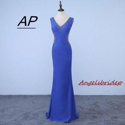 2019 Neuer Stil Neue Ankunft V-ausschnitt Sparkly Kristalle Chiffon Backless Blau Prom Kleider 2019 Sexy Gerade Party Kleider Vestidos De Fiesta Heißer Taille Und Sehnen StäRken