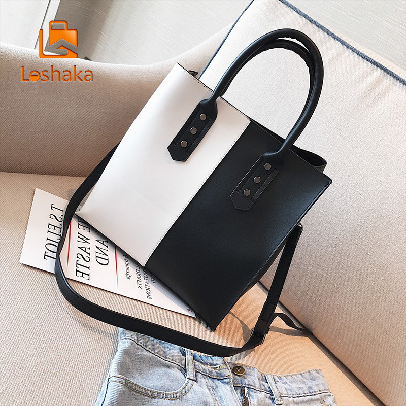 Loshaka Black&White Women Handbags Luxury Handbags Women Bags Designer Casual Shoulder Bags Large Capacity Bags Bolsa feminina ...