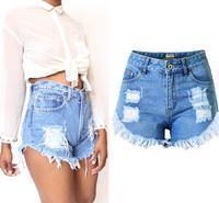 Estate Nuove Donne Sexy Shorts In Denim Luce Blu A Vita Alta irregolare Strappato Hole Jeans Corti Femme Nappa Ragazza di Vendita Calda pantaloncini