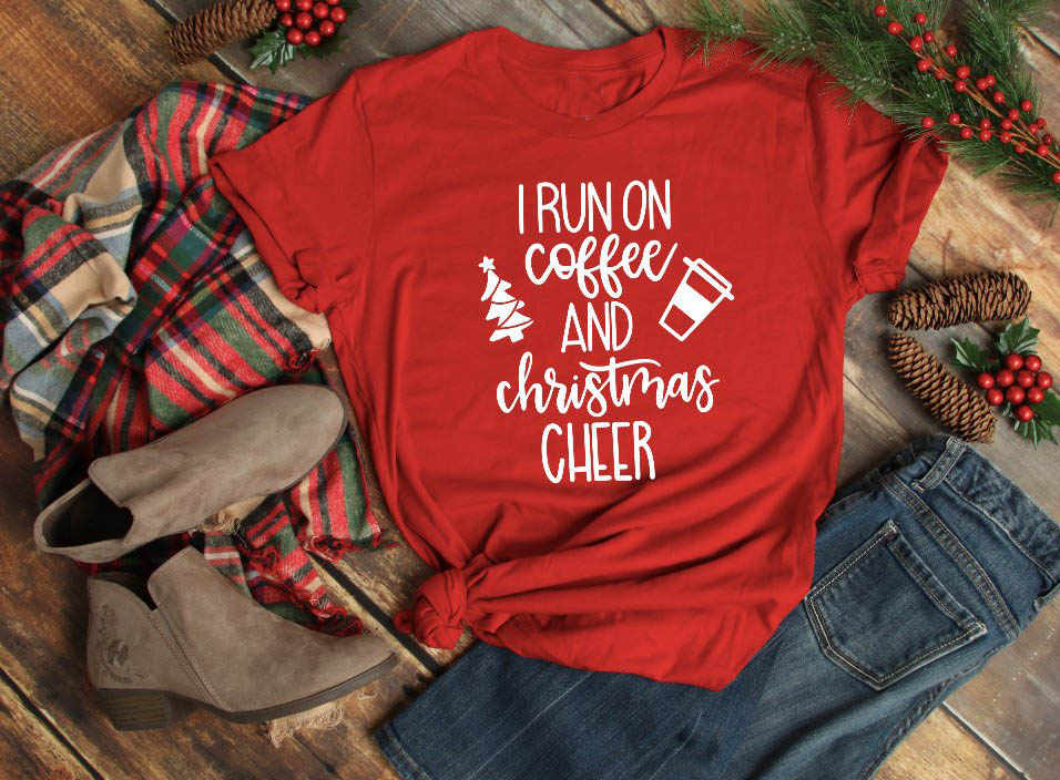I Run On Coffee and Christmas Cheer t-shirt gift slogan graphic fashion  creative street ddab399c2800