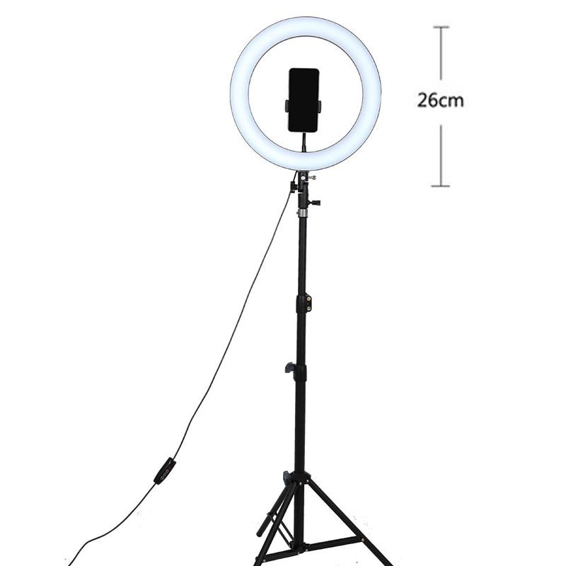 Vusum LED Selfie Ring Light 24W 3500K-5500K Studio Photography Photo Fill Ring Light With Tripod For Smartphone Makeup Light