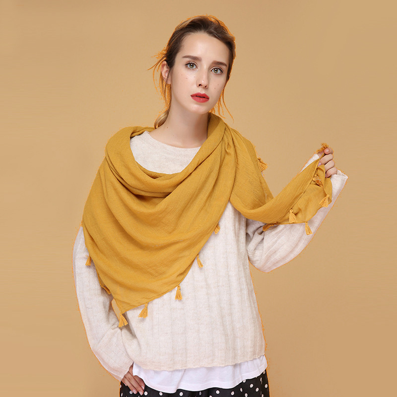 140×140 cm Women Square Hijab Scarf Solid Color Large Size Foulard Journey Tassels Bandana Headwear Hot [2270]