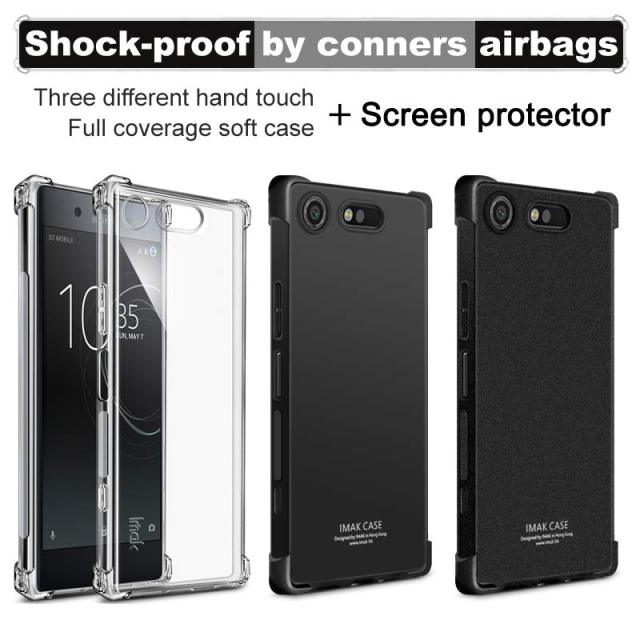 new concept 4d2fe eac35 US $4.99 20% OFF|IMAK Corners Airbag Shock Proof Case for Sony Xperia XZ1  Compact Soft TPU Case Cover for Sony XZ1 Compact Full Cover Matte Case-in  ...
