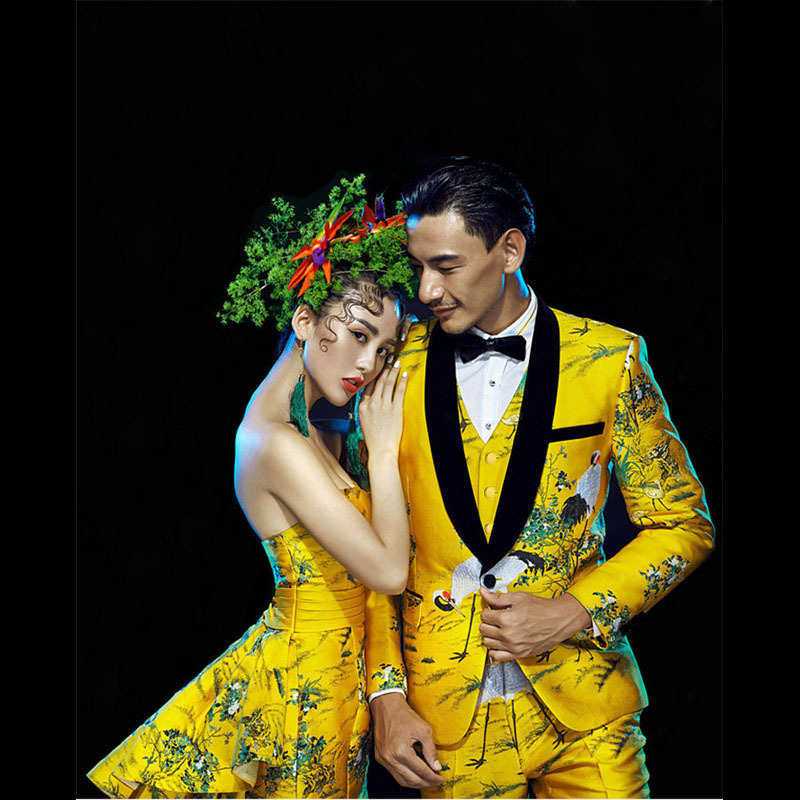 PYJTRL Mens Gold Yellow 4 Pieces Set Quality Red-crowned Crane Pattern Brocade Jacquard Suits Wedding Groom Tuxedo Stage Costume