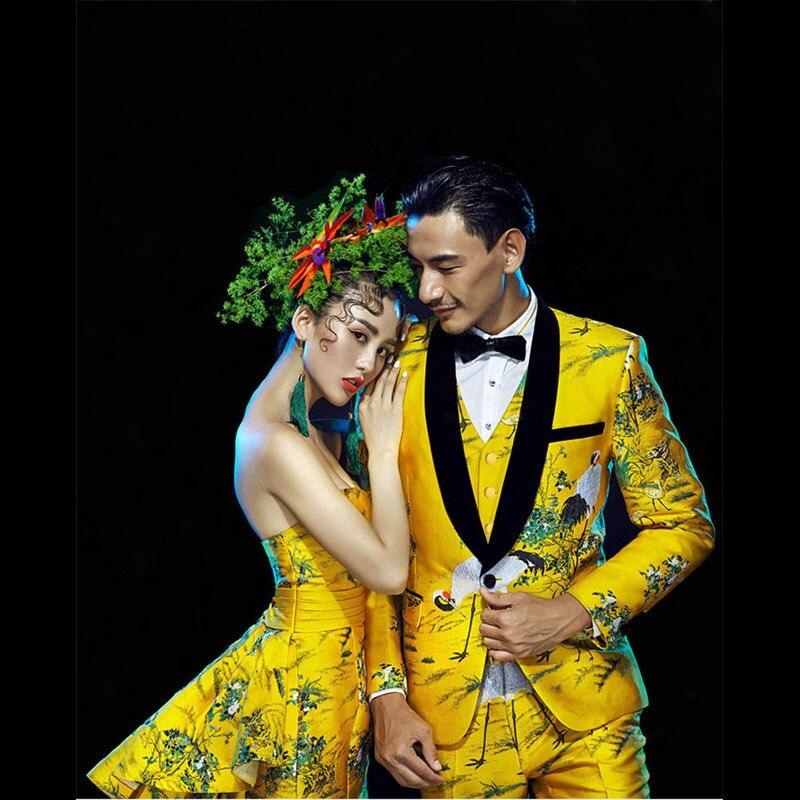 PYJTRL Mens Or Jaune 4 pièces Ensemble Qualité Rouge-Grue couronnée Motif Brocade Jacquard Costumes De Mariage Marié Smoking Stade costume