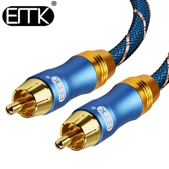 EMK Digital Audio Coaxial Cable - Dual Braided Shielded - Gold-Plated 2rca to 2 rca Interconnect Cable - Blue emk digital audio coaxial cable od8 0 premium stereo audio rca to rca male coaxial cable speaker hifi subwoofer cable av tv
