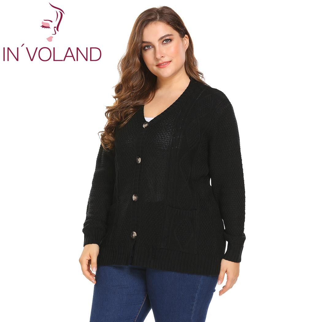 black Suelto Suéter Talla Abajo Botón Jumper Beige Tops 4xl Punto gray In voland  Cable Mujeres ... c0e7bd7ae60a