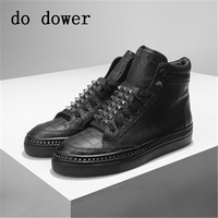 Spring Men Casual Sneaker Winter Male Luxury Trainers Adult Ankle Boots Genuine Leather Flats Rivet Popular Alligator Skin Shoes