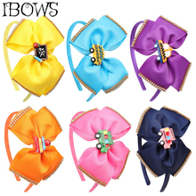 5'' BACK TO SCHOOL Hair Band for Girls Hair Bow Side With Rhinestone Resin Cars Patch Knotted Hair Hoop Ribbon Hair Accessories