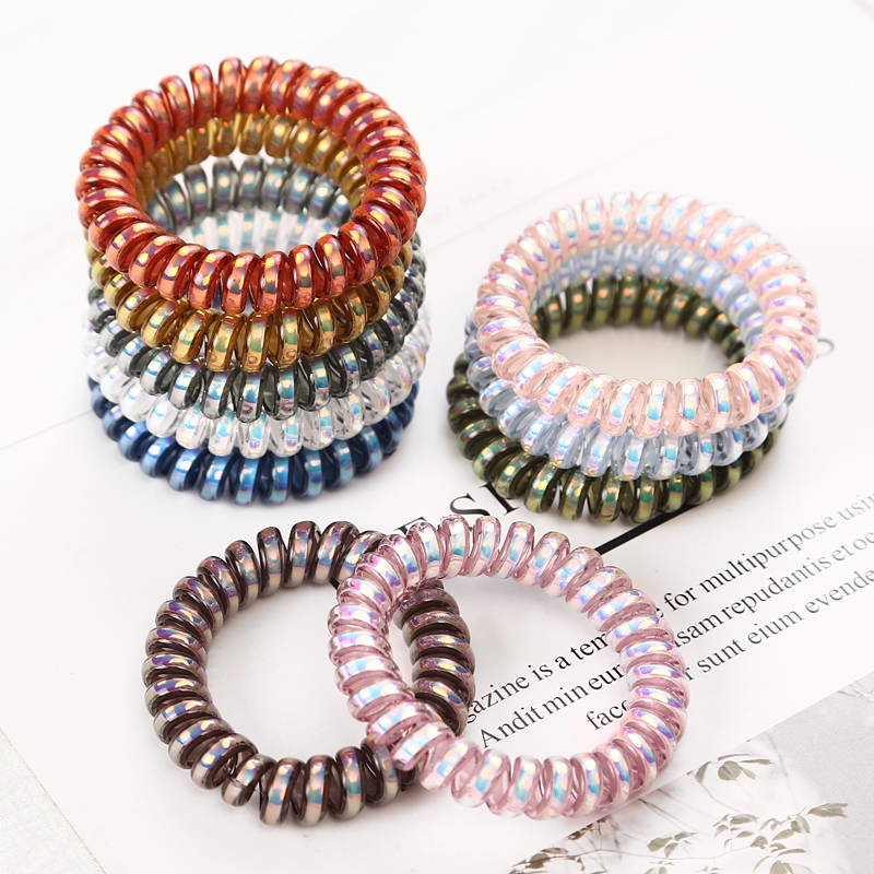 5PCS Bright Shining Telephone Line Wire Elastic Hair Bands Tie Gum Headwear Ponytail Holder Rubber Bands Women Hair Accessories