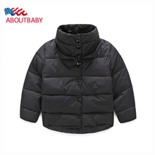 Girls Boys Winter Coat Fashion Children's Down Cotton Solid Color Long Sleeve Kids Winter Jacket WindProof Warm Outerwear Coats