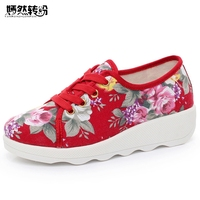 Vintage Embroidery Women Flats Canvas Flower Lace Up Casual Cotton Lace Up Walking Dance Shoes Woman